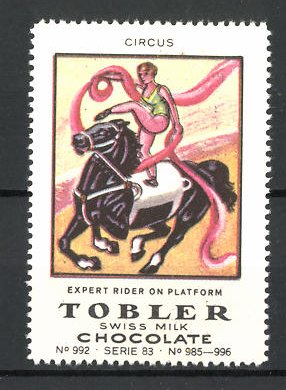 Reklamemarke Tobler Chocolate, Swiss Milk, Circus Expert Rider on Platform 0