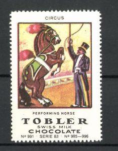Reklamemarke Tobler Chocolate, Swiss Milk, Circus Performing Horse