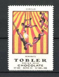 Reklamemarke Tobler Chocolate, Swiss Milk, Circus Acrobats