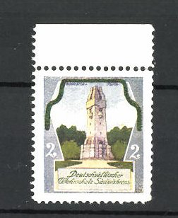 Künstler-Reklamemarke Ezel, Deutschvölkischer Wehrschatz Südmährens, Bismarckturm 0