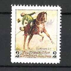 Künstler-Reklamemarke Ezel, Deutschvölkischer Wehrschatz Südmährens, Soldat stürzt vom Pferd