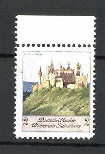 Künstler-Reklamemarke Ezel, Deutschvölkischer Wehrschatz Südmährens, Burg Hohenzollern