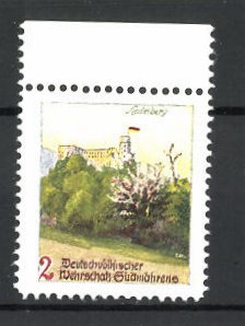 Künstler-Reklamemarke Ezel, Deutschvölkischer Wehrschatz Südmährens, Schloss Heidelberg