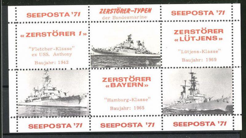 Reklamemarke Seeposta 1971, Kriegsschiffe der Bundesmarine,