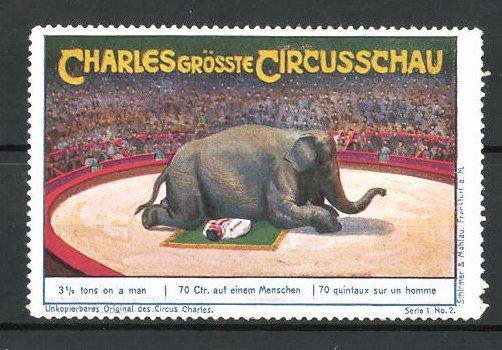 Reklamemarke Circus Charles, grösste Circus Schau, Elefant liegt auf einem Akrobaten 0