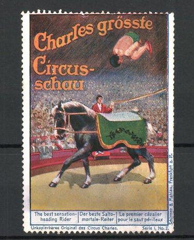 Reklamemarke Circus Charles, grösste Circus Schau, der beste Salto-mortale-Reiter 0