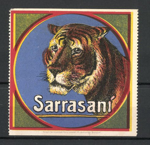 Reklamemarke Zirkus Sarrasani, Tiger im Portrait 0