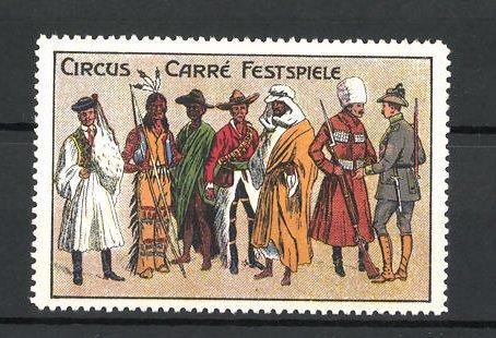 Reklamemarke Circus Carré Festspiele, Indianer und Cowboys