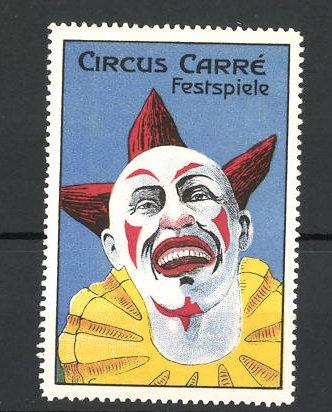 Reklamemarke Circus Carré Festspiele, lachender Clown