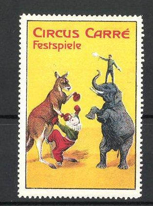 Reklamemarke Circus Carré Festspiele, Känguruh, Elefant und Clown