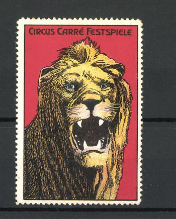 Reklamemarke Circus Carré Festspiele, brüllender Löwe