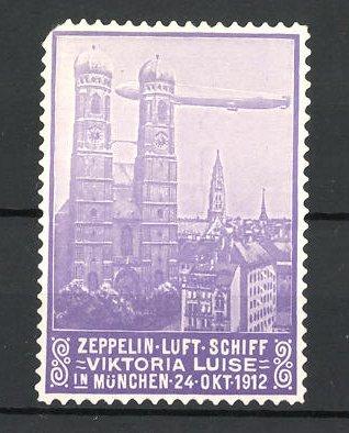 Reklamemarke Zeppelin-Luft-Schiff Viktoria Luise über München 1912 0