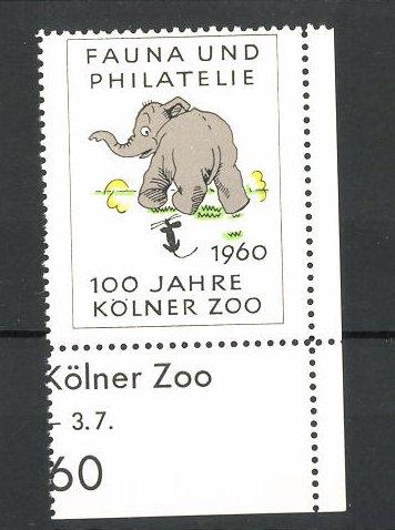 Reklamemarke 100 Jahre Kölner Zoo 1960, Fauna und Philatelie, Elefant mit Maus