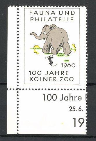 Reklamemarke 100 Jahre Kölner Zoo 1960, Fauna und Philatelie, Elefant mit Maus 0