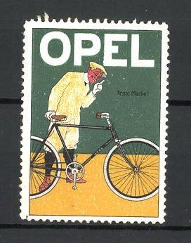 Reklamemarke Firma OPEL, Mann mit Fahrrad 0
