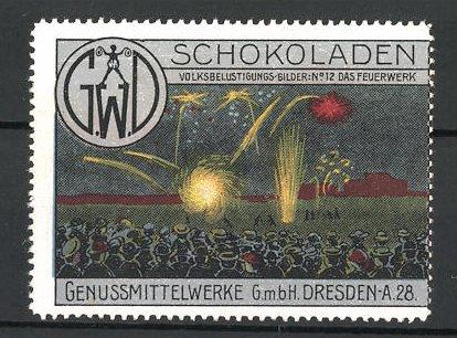 Reklamemarke Genussmittelwerke GmbH Dresden, Schokoladen, Feuerwerk