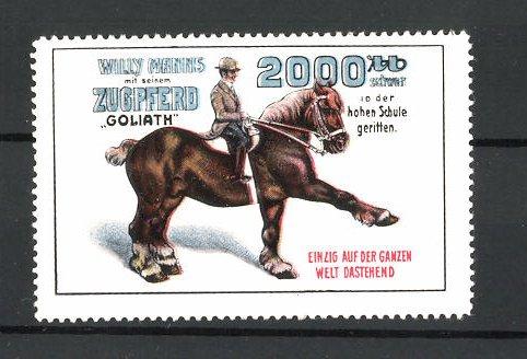 Reklamemarke Willy Manns mit Zugpferd