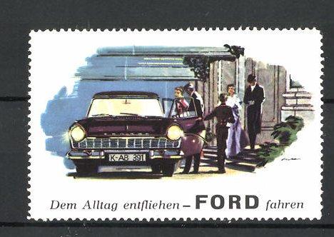 Künstler-Reklamemarke Automarke Ford, dem Alltag entfliehend fahren, Herrschaften steigen in Auto ein 0