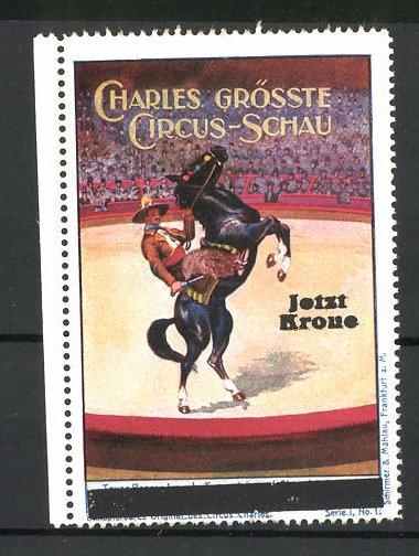 Reklamemarke Circus Charles, grösste Circus Schau, Cowbow reitet Pferd