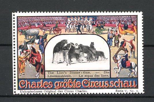 Reklamemarke Circus Charles, grösste Circus Schau, die Löwenmahlzeit