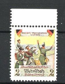 Künstler-Reklamemarke Ezel, Deutschvölkischer Wehrschatz Südmährens, Soldaten