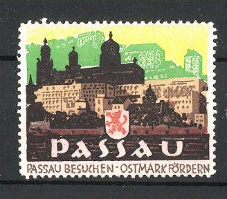 Künstler-Reklamemarke Ludwig Hohlwein, Passau, Ortsansicht mit Schloss und Wappen 0