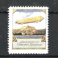 Künstler-Reklamemarke Ezel, Deutschvölkischer Wehrschatz Südmährens, Zeppelin