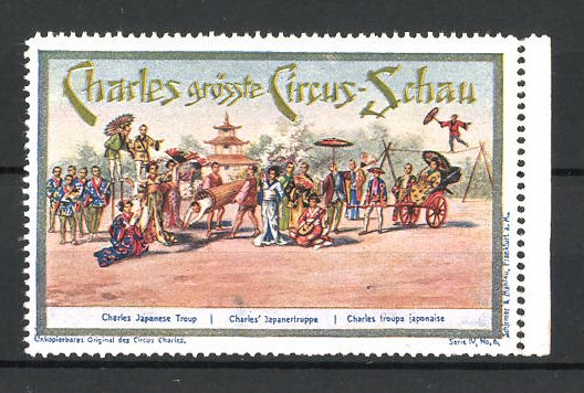 Reklamemarke Circus Charles, grösste Circus Schau, Japanertruppe