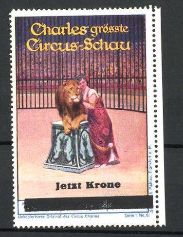 Reklamemarke Circus Charles, grösste Circus-Schau, Akrobatin mit Löwen