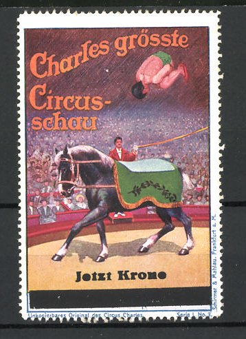 Reklamemarke Circus Charles, grösste Circus-Schau, Akrobat macht Salto auf Pferderücken