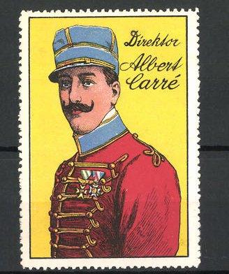 Reklamemarke Zirkus-Direktor Alber Carré im Portrait