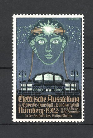 Reklamemarke Nürnberg, Elektrische Ausstellung f. Gewerbe und Landwirtschaft 1912, Messehalle