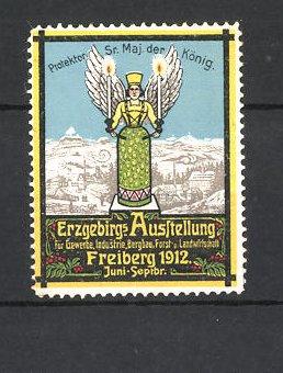 Reklamemarke Freiberg, Erzgebirgs-Ausstellung f. Gewerbe und Industrie 1912, Erzengel 0