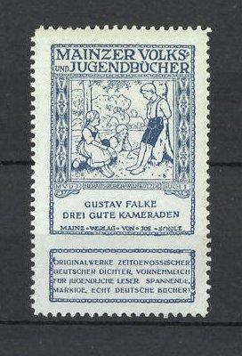 Reklamemarke Mainzer Volks- und Jugendbücher, Gustav Falke