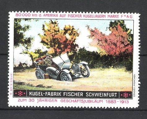 Reklamemarke Kugelfabrik Fischer Schweinfurt, Auto am Feldrand 0