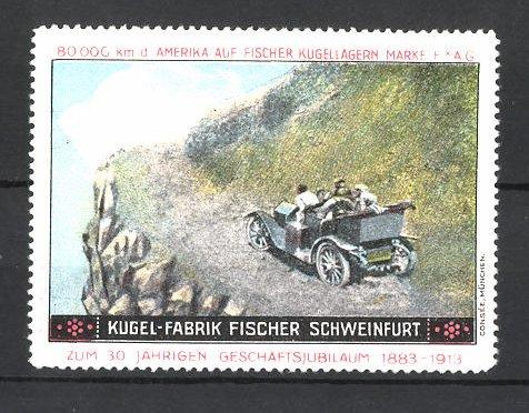 Reklamemarke Kugelfabrik Fischer Schweinfurt, Autofahrt im Gebirge