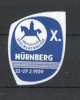 Reklamemarke Nürnberg, X. Internationale Spielwarenmesse 1959, Schaukelpferd
