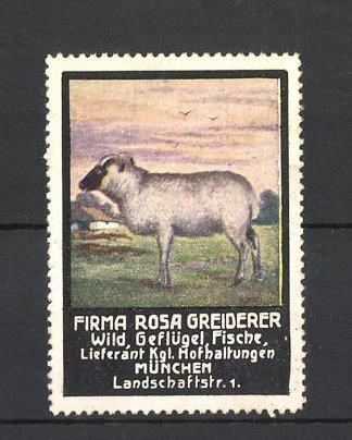 Reklamemarke Firma Rosa Greiderer, Lieferant für Wild und Geflügel, München