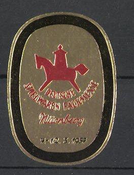 Reklamemarke Nürnberg, Deutsche Spielwaren Fachmesse 1957, Schaukelpferd