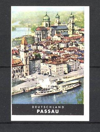 Reklamemarke Passau, Ortsansicht mit Dampfer 0