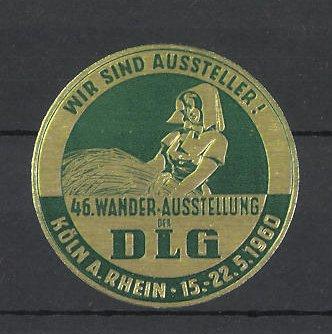 Reklamemarke Köln, 46. Wander-Ausstellung der DLG 1960, Bäuerin mit Getreide 0
