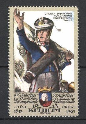 Reklamemarke Befreiungskriege, 100 Jahrfeier 1813-1913, Kelheim, Soldat mit Fahne