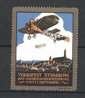 Reklamemarke Volksfest Straubing 1912, Jahrhundertfeier 1812-1912, Flugzeuge über dem Ort