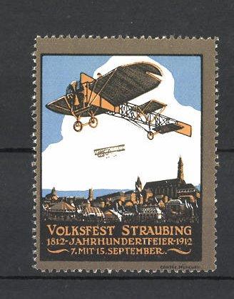 Reklamemarke Volksfest Straubing 1912, Jahrhundertfeier 1812-1912, Flugzeuge über dem Ort 0
