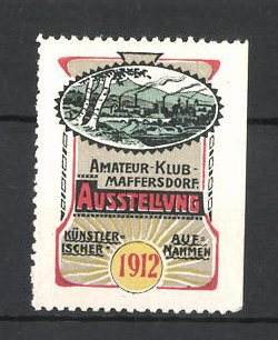 Reklamemarke Maffersdorf, Amateur-Klub-Ausstellung 1912, Ortsansicht 0