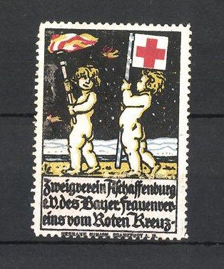 Reklamemarke Rotes Kreuz, Zweigverein Aschaffenburg e. V. des Bayer. Frauenvereins, Kinder mit Fackel und Fahne 0