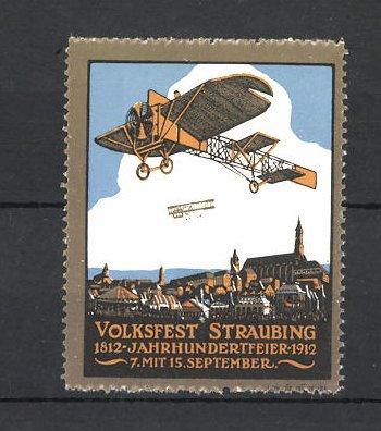 Reklamemarke Volksfest Straubing 1912, Jahrhundertfeier, Flugzeuge über der Stadt 0