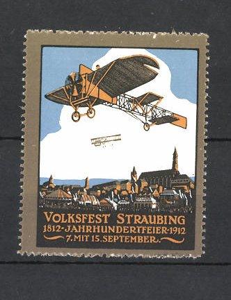 Reklamemarke Volksfest Straubing 1912, Jahrhundertfeier, Flugzeuge über der Stadt
