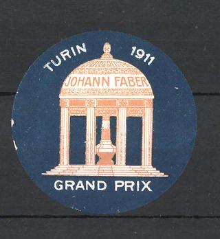 Reklamemarke Turin, Grand Prix 1911, Johann Faber-Pavillon 0
