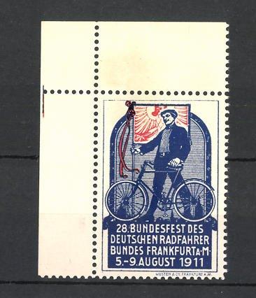 Reklamemarke Frankfurt / Main, 28. Bundesfest des deutschen Radfahrerbundes 1911, Mann mit Fahrrad 0